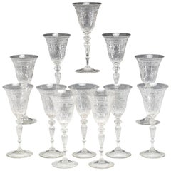 Set of 12 Steuben Handblown Wheel Cut Crystal Water Goblets