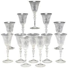 Set of 12 Steuben Handblown Wheel Cut Crystal Water Goblets