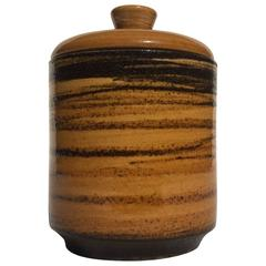Ceramic Jar Golden-Yellow and Brown Glazed, Arts and Craft, Germany, 1960s