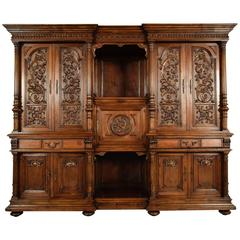 Grand 19th Century French Renaissance Heavily Carved Solid Walnut Cabinet