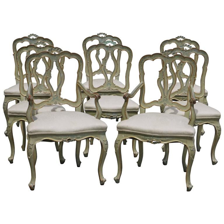 Set of Eight 19th Century Venetian Chairs For Sale