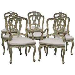 Set of Eight 19th Century Venetian Chairs