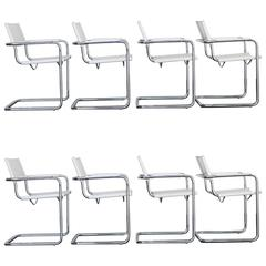 Set of Eight 'MG5' Matteo Grassi Leather Dinner Chairs, Italy
