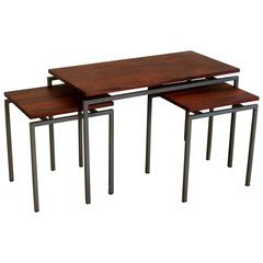 Vintage Danish Rosewood + Metal Frame Nesting Tables S/3