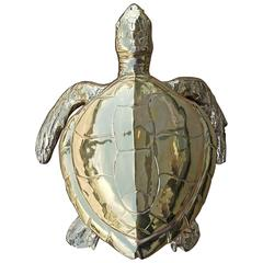 Stunning Large Scale Brass Sea Turtle Box