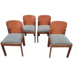 Set of Four Leather-Back Chairs by Silvio Coppola for Bernini