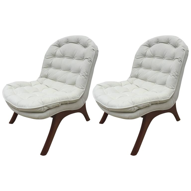Pair of Club Chairs and Slipper Chairs in the style of Adrian Pearsall ...