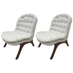 Pair of Club Chairs and Slipper Chairs in the style of Adrian Pearsall