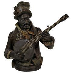Black Minstrel Playing the Banjo, Black Americana Sculpture