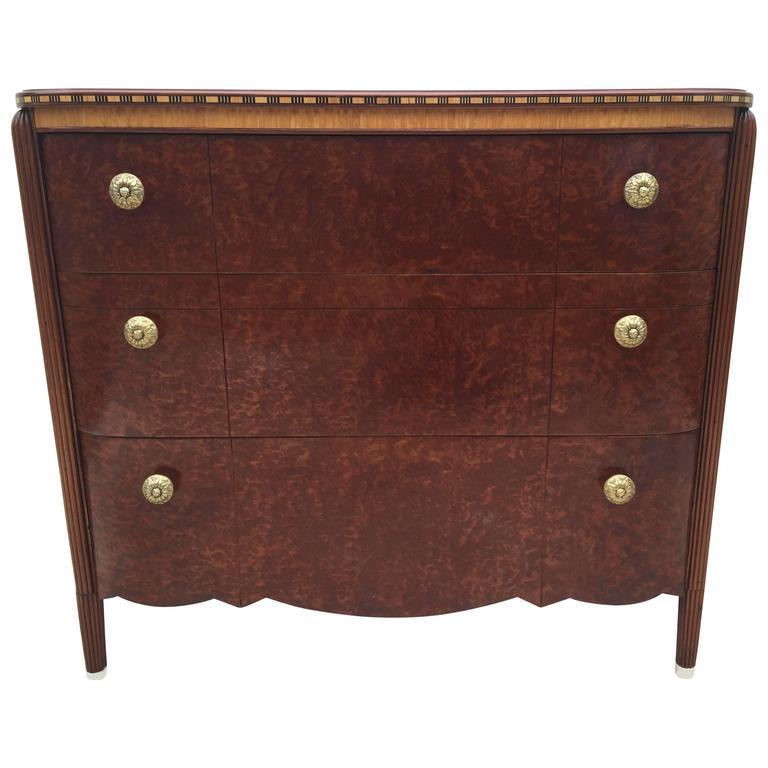 Art Deco French Burled Inlaid Dresser or Bureau