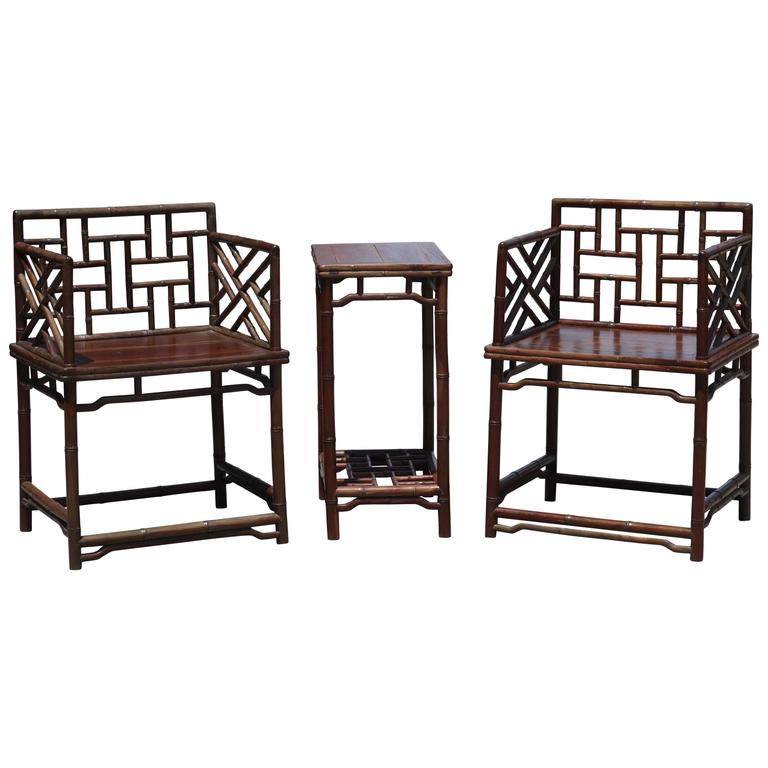 Pair of Chinese Faux Bamboo Chairs and Table Made from Rare Zhazhen Wood 1