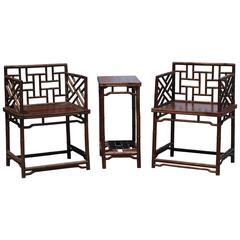 Pair of Chinese Faux Bamboo Chairs and Table Made from Rare Zhazhen Wood