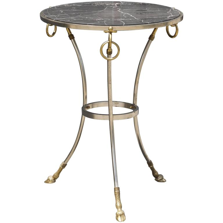 Neoclassical Italian Tripod Table in Brushed Nickel and Brass 1