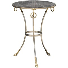 Neoclassical Italian Tripod Table in Brushed Nickel and Brass