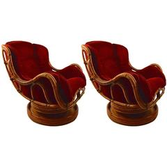 Pair of Swivel Tilt Bamboo Lounge Chairs