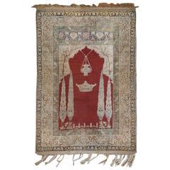 Incredible 19th Century Silk Ghashghaei Prayer Rug