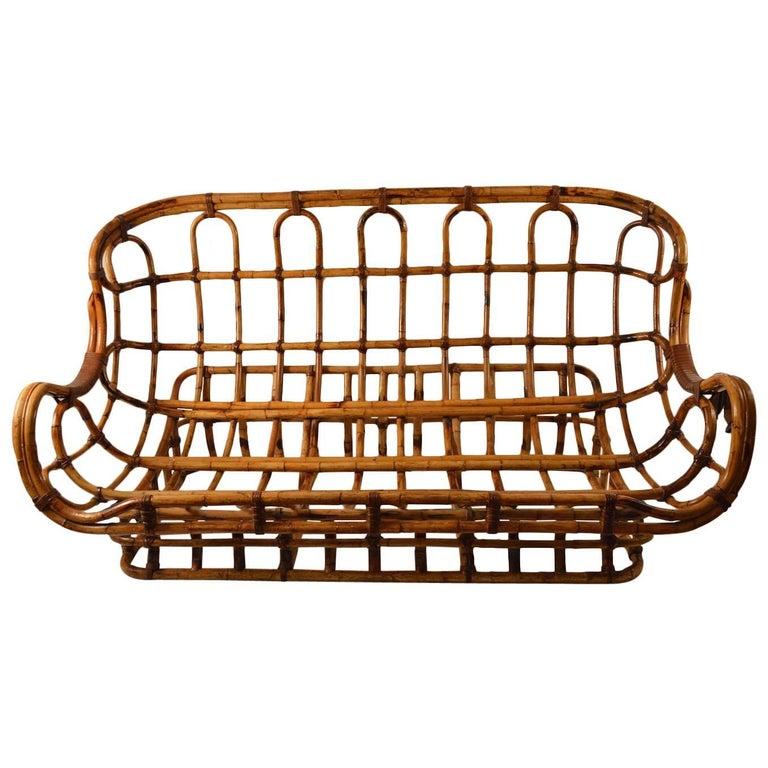 Unusual Curvy Bamboo Sofa For Sale