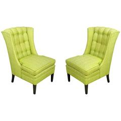 1940s Button-Tufted Winged Slipper Chairs in Celery Damask