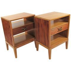 Pair of Brown Saltman Nightstands Designed by Paul Frankl