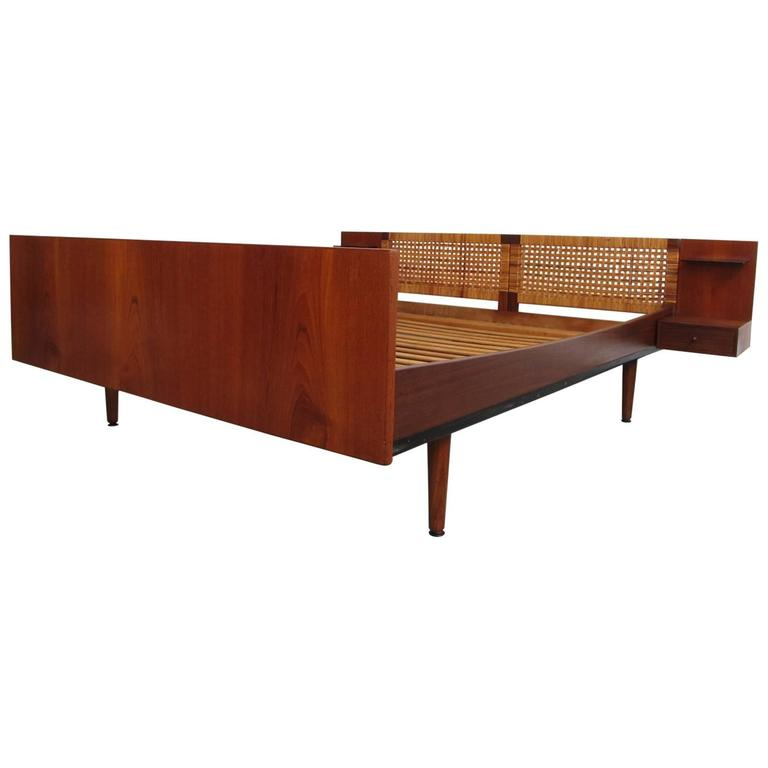 Hans Wegner Getama Teak And Caned Queen Bed With Attached