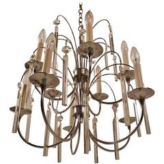 Ten-Light Chrome and Glass Chandelier by Sciolari