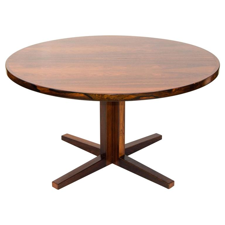 Danish Rosewood Round Pedestal Dining Table, One Leaf For Sale