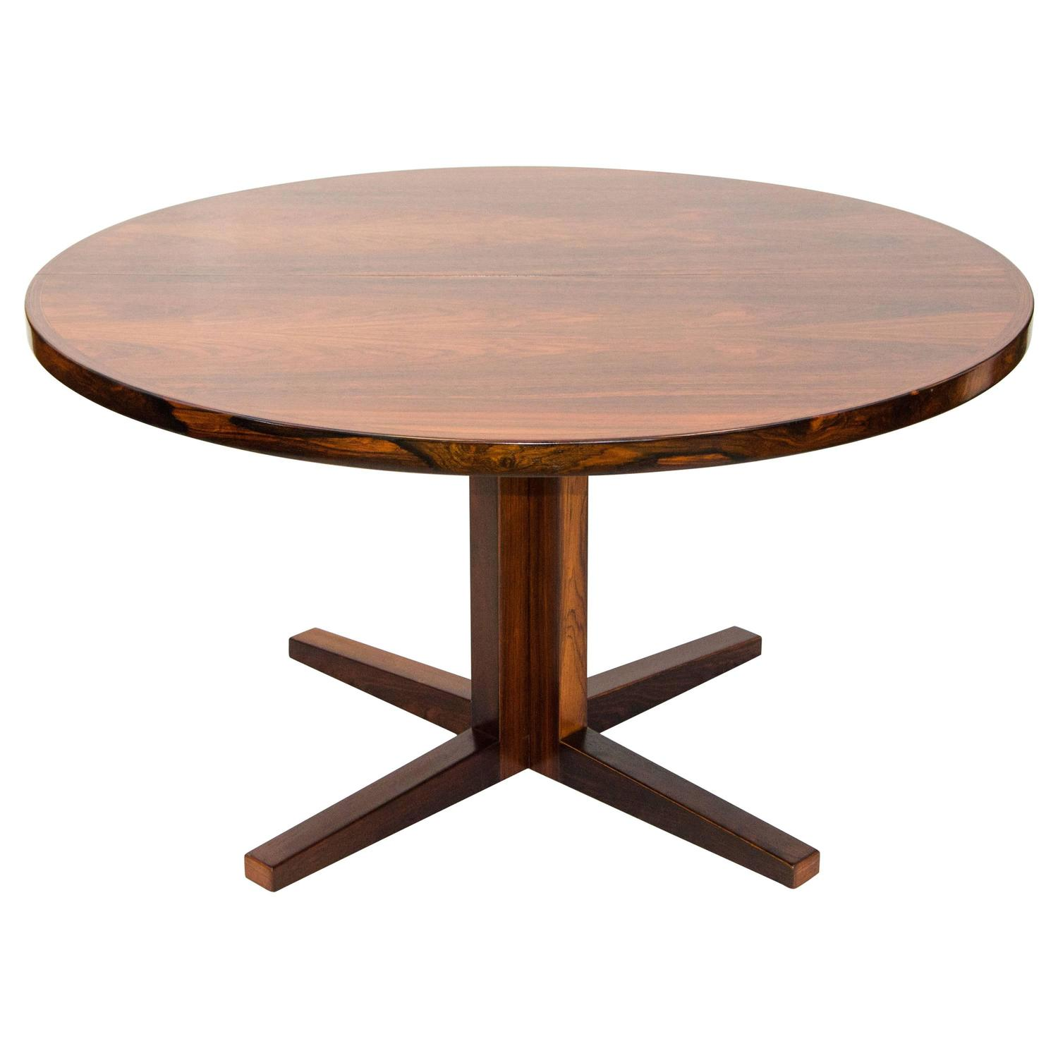Danish rosewood round pedestal dining table one leaf at for Round pedestal table with leaf
