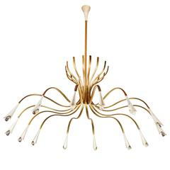 Rare Extra Large Fourteen-Arm Chandelier by Oscar Torlasco