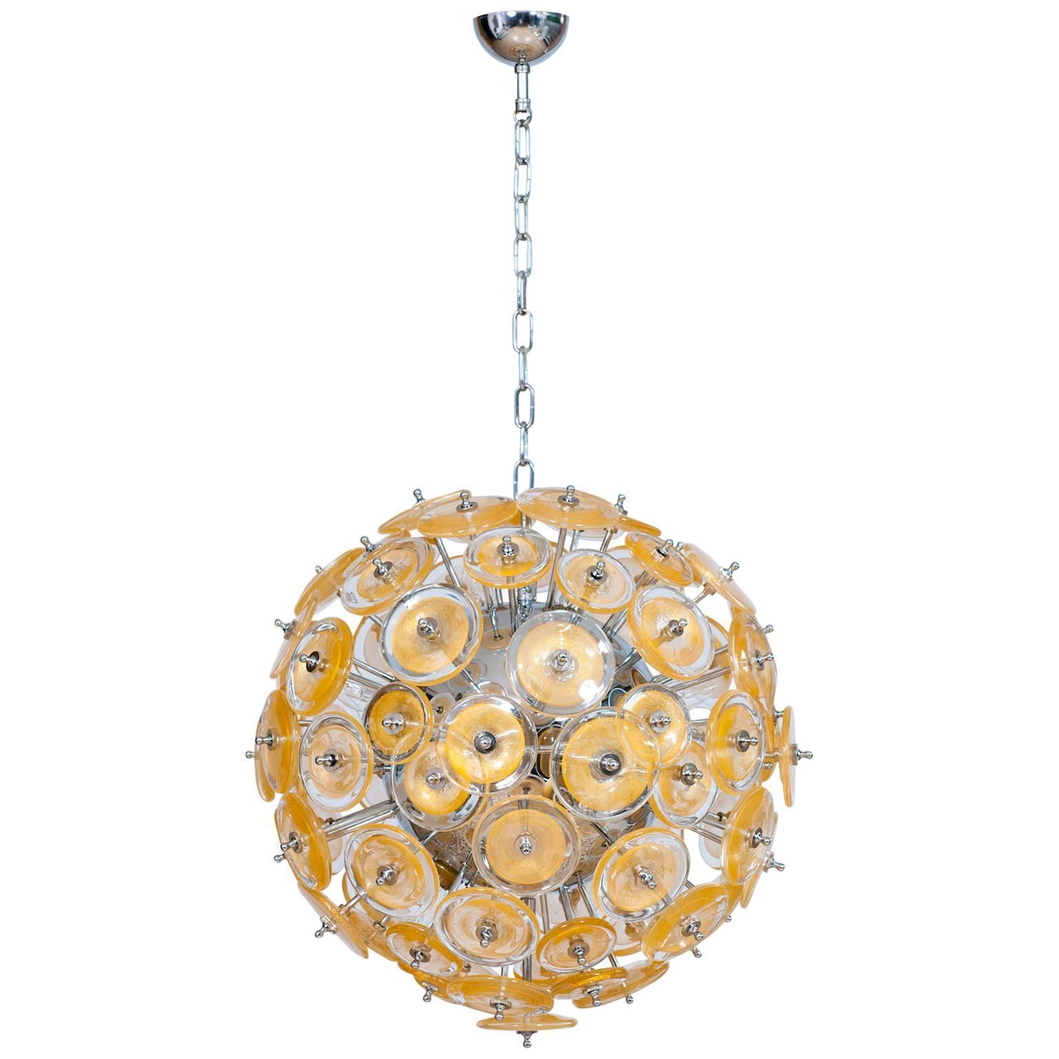 Italian Flush Mount in Blown Murano Glass, Gold 24-K, Mazzega Contemporary