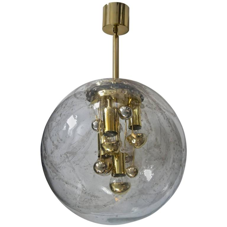 doria glass and brass globe pendant for sale at 1stdibs