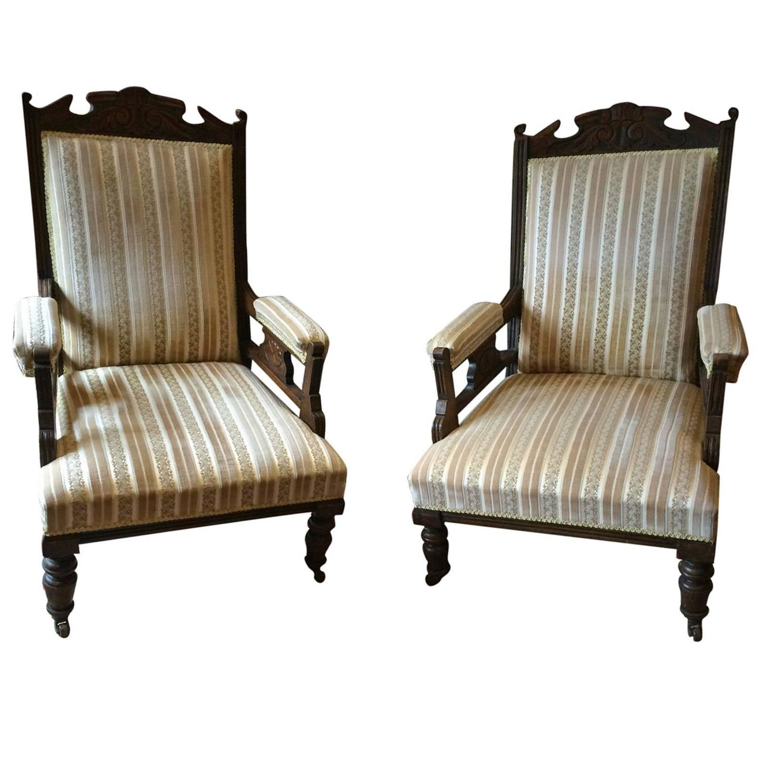 Antique Armchairs Lounge Bedroom Chairs Pair Of Edwardian 20th Century At 1s