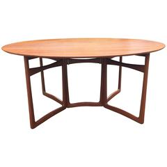 Teak Drop Leaf Oval Dining Table by Peter Hvidt for France and Sons