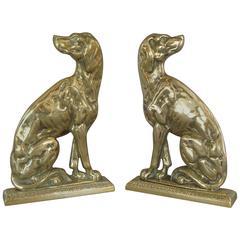 Pair of 19th Century Brass Retriever Doorstops/Door Porters