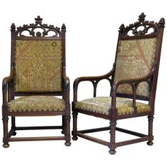 Large Pair of Gothic Style Armchairs, France, 19th Century