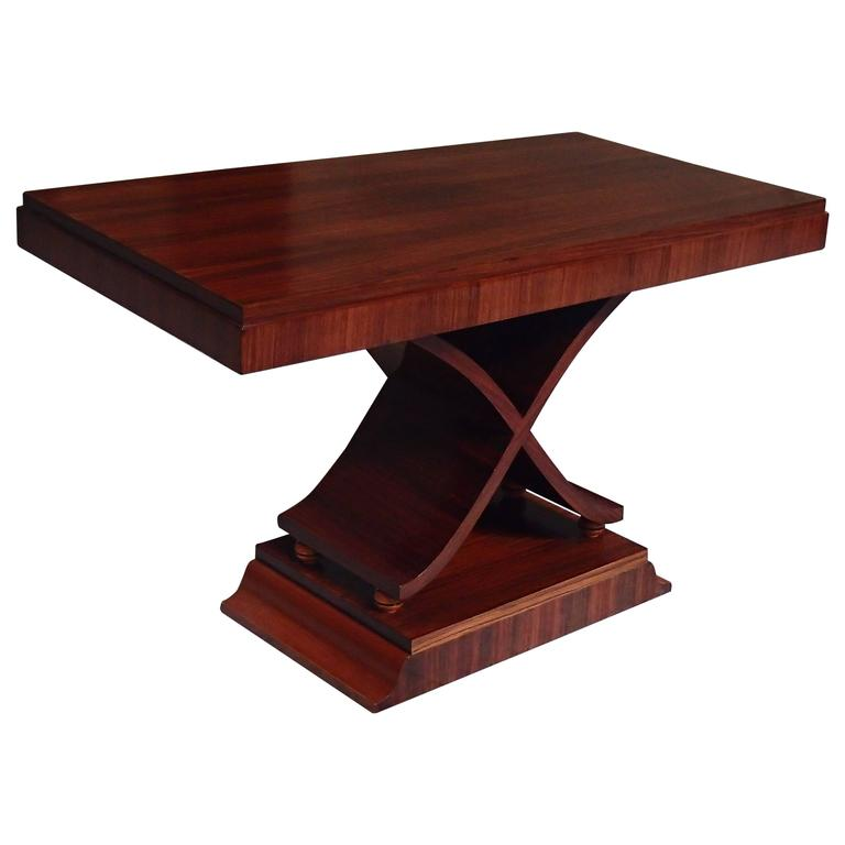 Art Deco Large Console/Side Table X Leg Shape Rosewood