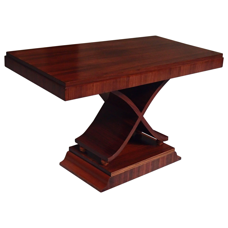 Art Deco Large Console/Side Table X Leg Shape Rosewood