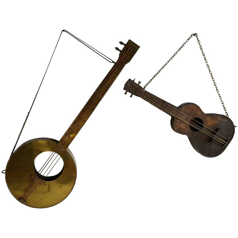 Modernist Folk Art Metal Guitar Sculptures Whimsical Musical