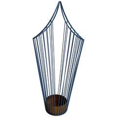 Modernist Wire Iron Umbrella Stand, Painted Periwinkle Blue, Mathieu Matégot
