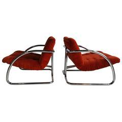 Pair of Italian Modernist Chrome and Orange Velvet Button Tuft Lounge Chairs