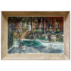 George Bossek Painting of Gramercy Park NYC, 1950s