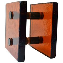 Square Push and Pull Door Handle in Orange Glass