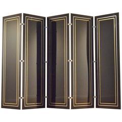 Hollywood Regency 5x Segmented Plexiglas, Brass & Aluminium Room Divider Pravan