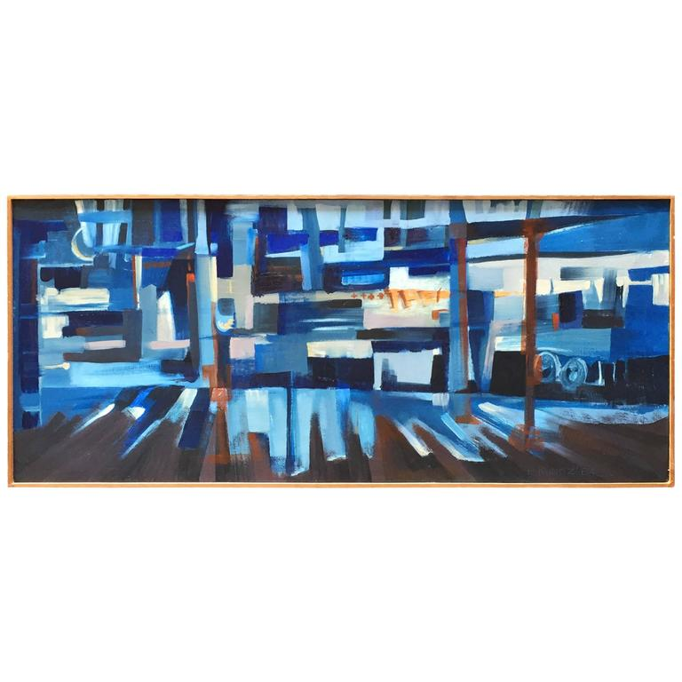 E. Kunitz, 1964 Abstracted Street Scene Painting For Sale
