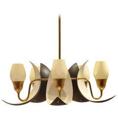 Danish Fog & Mørup Mid-Century Bicoloured Glass & Perforated Metal Pendant Lamp