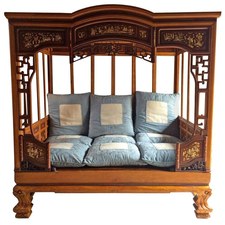 Chinese Opium Bed Daybed Asian Oriental Mid-20th Century For Sale & Chinese Opium Bed Daybed Asian Oriental Mid-20th Century at 1stdibs