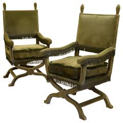 Pair of 1600 Style Upholstered Armchairs