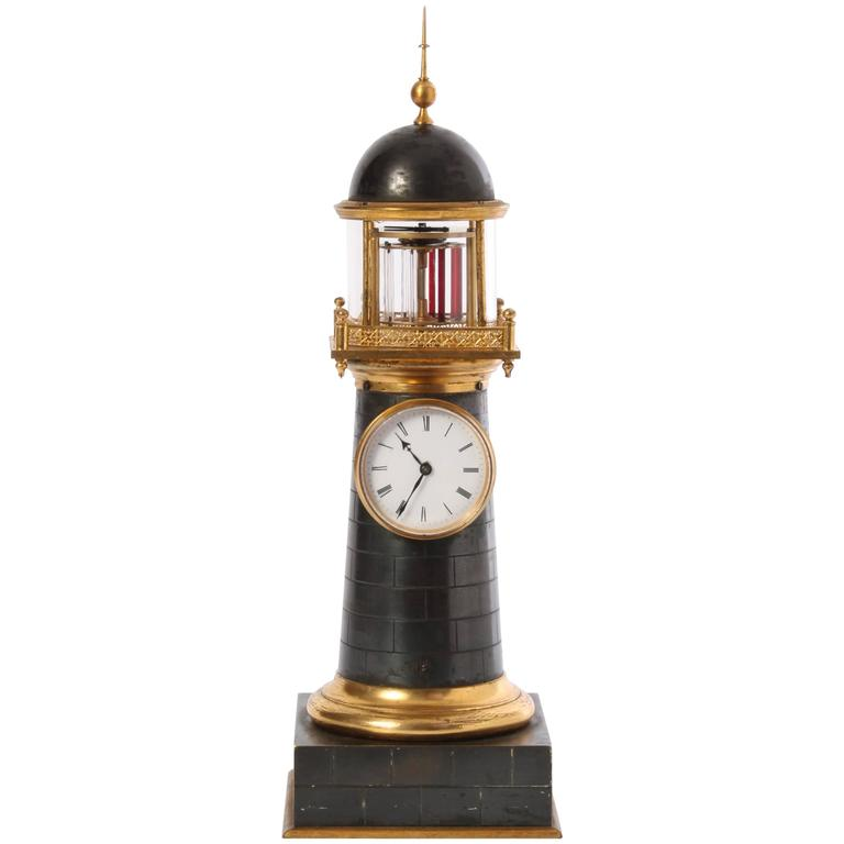 Small And Amusing French Bronze And Gilt Lighthouse