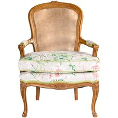 1960s Bergere Chair with Floral Upholstery