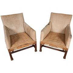 Pair of George III Carved Mahogany Library Chairs