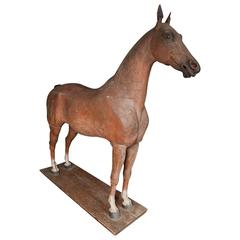 Late 18th-Early 19th Century, Full Size Wooden Sculpture of a Horse